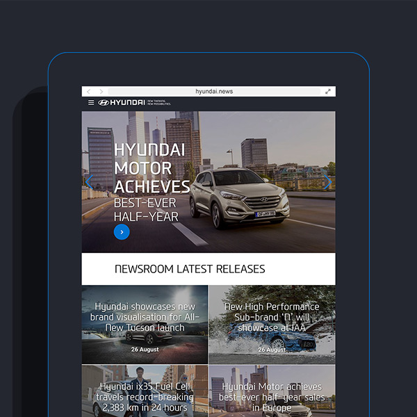 hyundai.news Website auf Tablet