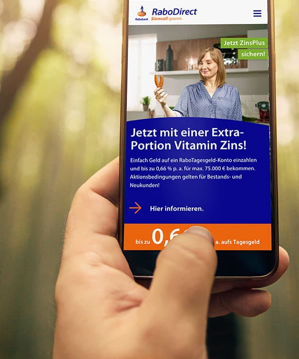 RaboDirect Website auf Smartphone