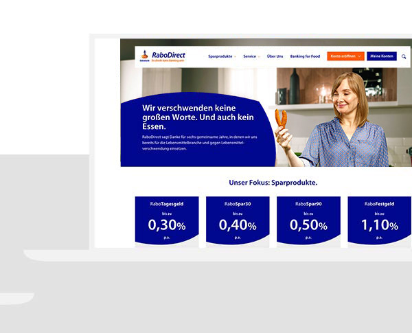 RaboDirect Website Überblick